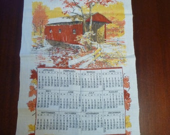 Vintage 1972 Calender Dish Towel With Red Covered Bridge With Fall Colors, 1972 Covered Bridge Calender Wall Hanging  (T)
