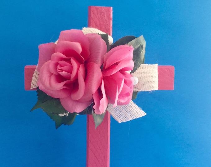 Cemetery cross, grave decoration, memorial cross, Floral Memorial, grave marker, cemetery flowers, memorial flowers