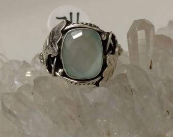 Faceted Aqua Chalcedony  Ring, Size 7 1/2