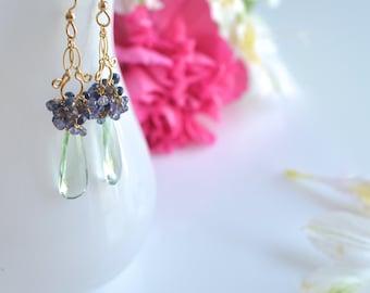 Migdalia - Prasiolite, Tanzanite, Iolite, blue Sapphires and 14k Gold filled long earrings