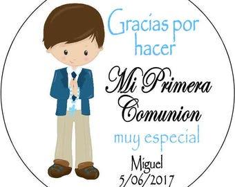 12 printed Cross 1st Communion girls pink Stickers 2.5 inch Round Personalized kids christening boys blue spanish