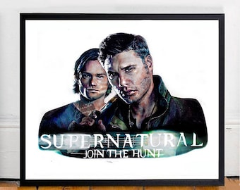 Art Print 'Supernatural: Join The Hunt' Hand-drawn Artwork, Sam and Dean Winchester