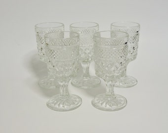 Small Crystal Wine Glasses, Set of 5 Crystal Wine Glass, Crystal Glasses, Crystal Stemware