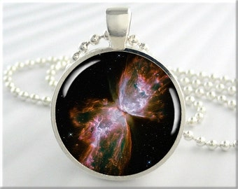 Butterfly Nebula Necklace, Picture Pendant, The Butterfly Nebula, Resin Pendant, Gift Under 20, Space Geek Gift, Round Silver 342RS