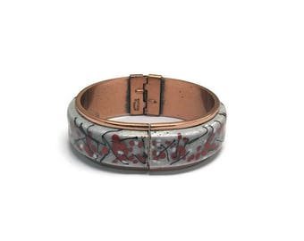Signed Matisse Renoir Bracelet, Modernist Copper and Enamel Clamper Bracelet, Mid Century Modern Bracelet, Costume Jewelry