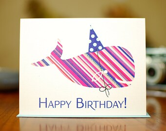 Striped Whale in Polka-Dot Party Hat Birthday Card on 100% Recycled Paper