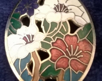 Vintage Brooch, Cloisonne Brooch, Enamel, Flower Brooch, Vintage Jewelry, Jewellery, Gifts for Her, Collectible