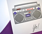 Boombox Letterpress Greeting Card