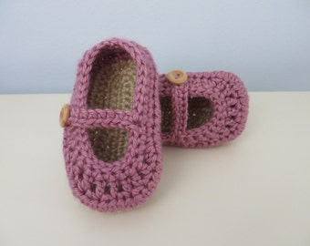 Hand Crocheted Mary Jane Style Baby Girl Shoes Slippers Dusty Pink Beige 6-12 months 4 inch / 10 inch sole Soft Structured