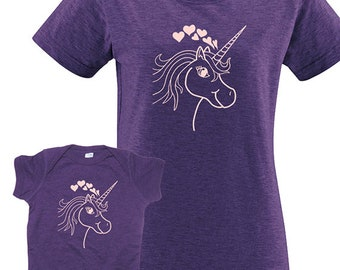 Mother Daughter T Shirt - Unicorn Hearts Matching Shirts for mom and child or mom and baby, Tshirt Set - T shirt gift, Mothers Day Mom Shirt