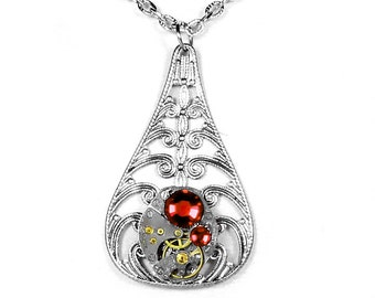 Steampunk Jewelry Necklace Womens Art Deco Pendant Vintage Watch Silver Filigree RED Crystals, Girlfriend Holiday Gift - Steampunk Boutique