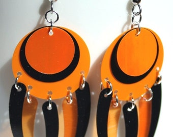 Sequin Earrings Orange & Black Halloween Colors Confetti Dangles Plastic Sequin Jewelry