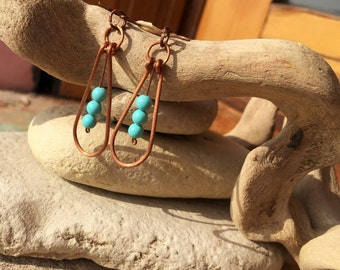 Copper earrings with Turquoise balls:)