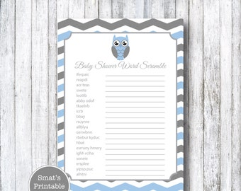 Blue Owl Baby Shower Word Scramble Game Cards - PRINTABLE Chevron Theme - Blue - Instant Download - Baby Shower Games - Gray Grey