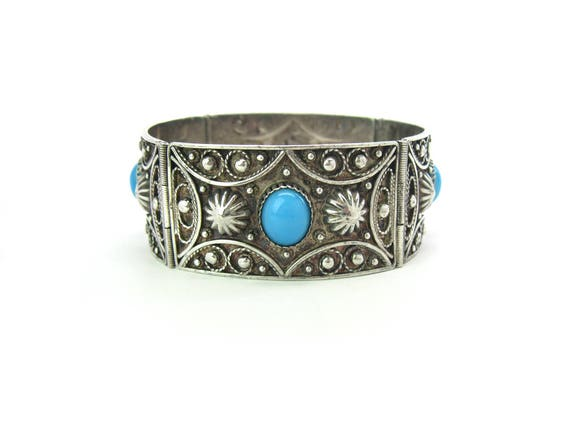 Vintage Wide Turkish Ottoman 900 Silver Bracelet w/ Turquoise Glass