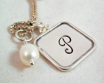 Monogram Necklace - Personalized Necklace - Silver Monogram - Mom necklace - Mother's Day Gift- Aritsan Charm Necklace