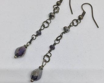 Antique Brass Grey Crystal Drop Earrings
