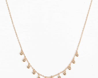 LISA NECKLACE - Chain set of charms beads, gold plated