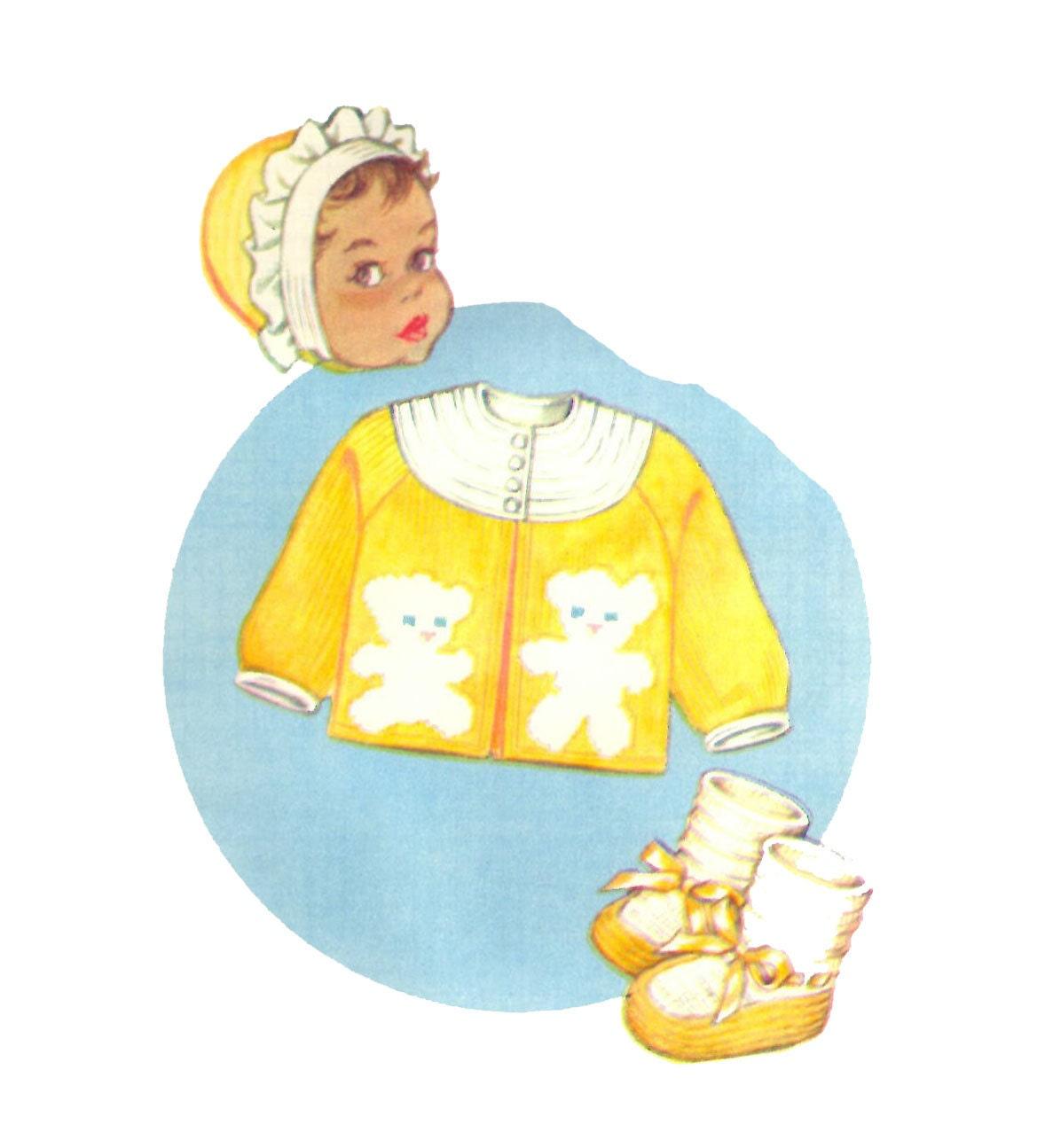 Knit O Graf PATTERN 222 Baby Sweater Set Cardigan Bonnet