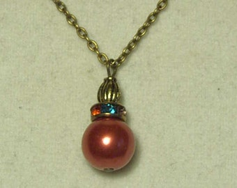 "Cynthia Lynn ""OLD FASHIONED CHRISTMAS"" Bronze Holiday Ornament Pendant Necklace 18"""
