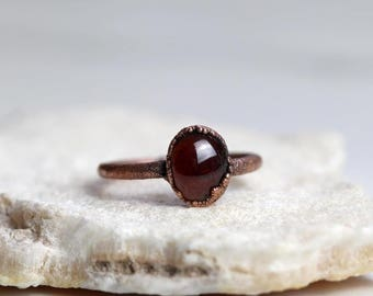 Garnet Ring - Electroformed Capricorn Ring - Copper and Stone Ring