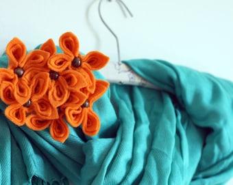 Orange Felt Flower Brooch, Orange Flower Brooch, Felt Flowers