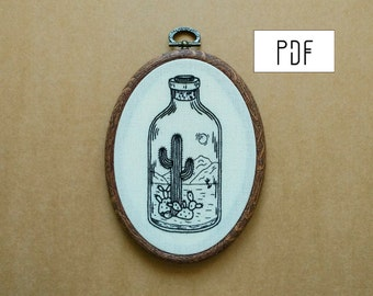 PDF pattern - Desert in a Bottle Hand Embroidery Pattern (cactus embroidery - succulent embroidery) (PDF modern embroidery pattern)
