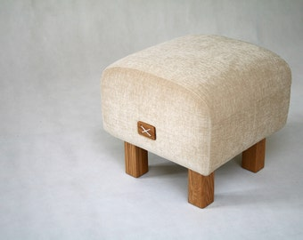 Upholstered, Ottoman, Bench, Light, Beige, Seat, Pouf, Footstool, Furniture, Oak, Chair, High quality