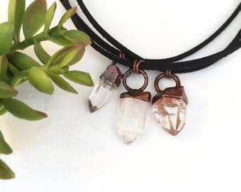 Raw Quartz Crystal Choker Necklace Copper Necklace Electroformed Necklace Clear Quartz Jewelry Crystal Point Black Choker