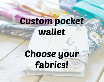 Pocket wallet, inside coin section, custom pocket wallet, custom wallet, custom fabric wallet, pocket wallet custom, little wallet, wallet