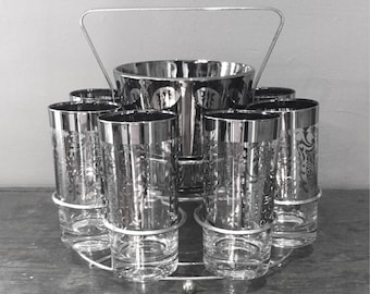1950's Kimiko Royal Shield Highball Glasses Ice Bucket And Carrier