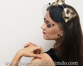 Black Derby Hat, Black Fascinator, Top Hat with Gold Color Bow, Retro Style Hair Piece, Mother of a bride hat, Pillbox Hat with Veil.