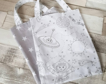 Colour me in bag Reversible, children's doodle bag, colouring bag, design your own bag, colour in tote, kids space bag, ce mark, mindfulness