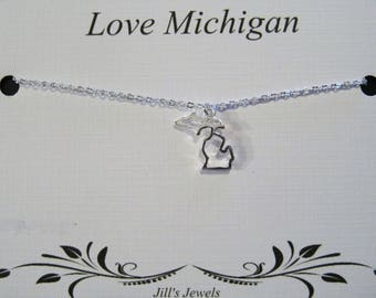 Silver Michigan Charm Necklace - Michigan Home Necklace - Love Michigan - Michigan Jewelry -  Michigan Pendant -  Michigan Cutout Necklace
