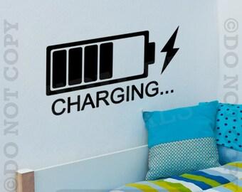 CHARGING The Batteries Vinyl Wall Decal Sticker Decor Sleeping Baby Naptime Child Bedroom Nursery