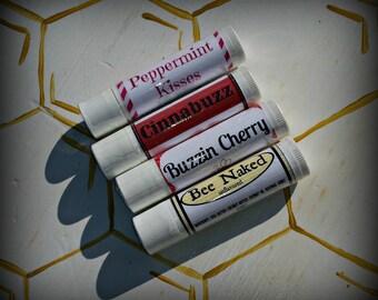 Set of 4 Ohio Made Honey Beeswax Lip Balms