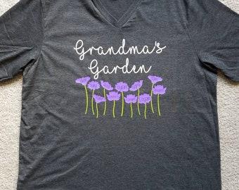 Personalized Grandma's garden shirt. Mommy's garden. Nana's garden. Mother's day. Birthday. Gift. Little Fawn Lane.