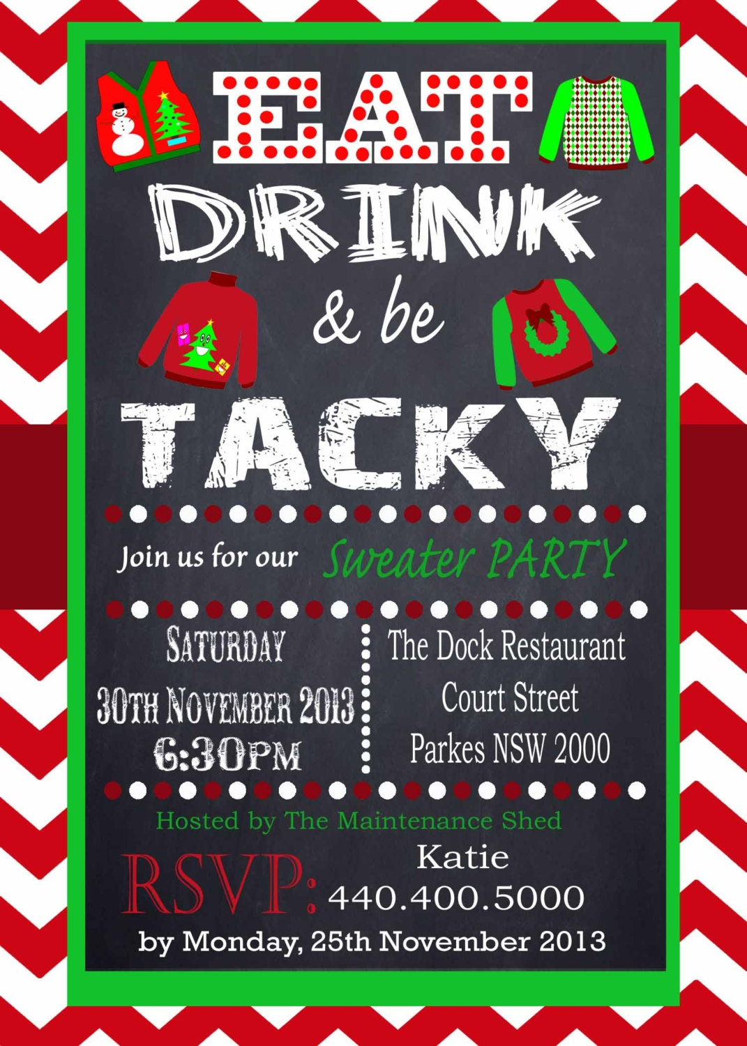 Tacky Sweater Party Invitation Chevron Red Chalkboard Uly