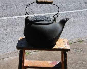 Antique Cast Iron No. 8 Stove Top Teapot Kettle With Swing Lid Wood on the Handle