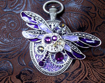 Steampunk Pin (P808) Dragonfly Brooch, Hand Painted Acrylic, Gears and Swarovski Crystals, Purple, Violet, Silver, Aurora Borealis