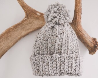 Gray Hat Pom Pom | Slouch Beanie | Crocheted Hat | Chunky Hat | Wool Blend | Adult | Handmade | Soft