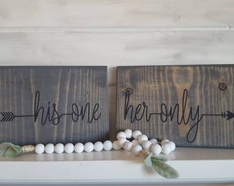 His one -> Her only | Wood Sign | Farmhouse Sign | Framed Sign | Rustic Sign | Rustic Decor| Farmhouse Decor | Wedding Gift| Love Quote Sign