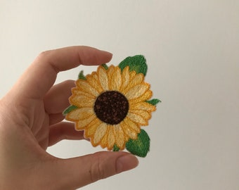 Sunflower hand embroidered patch
