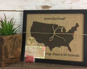 Cork world map etsy framed wanderlust push pin travel map of the united states world map push pin gumiabroncs Image collections