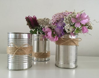 Set of 10 Upcycled Rustic Tin Can Wedding String Wrapped Vases