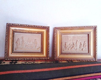 2 frames French ancient petrified limestone. Craft Clermont-Ferrand French - France