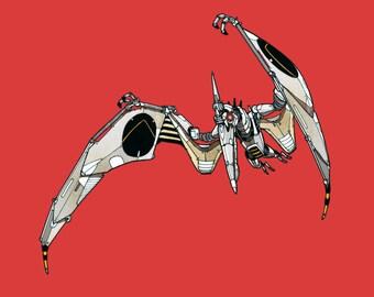 Pterodactyl Robosaur art print 8x10