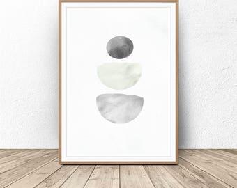 Scandinavian print, Geometric Abstract Print, Nordic art, Minimalist poster, Watercolor Art, Printable wall art, Minimalist Gray, Home Decor