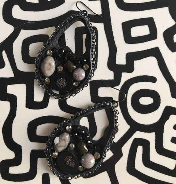 Massive Mod Indusrtrial Colage of black & Grey Beads Gems Rhinestones Goo and Chain Earrings wicked cool