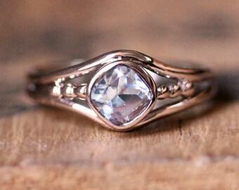Morganite engagement ring rose gold morganite ring, morganite promise ring, cushion cut ring, bezel engagement ring, non diamond engagement